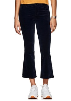 J Brand Women's Selena Velvet High-Rise Crop Flared Pants
