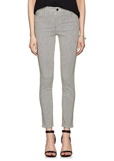 J Brand Women's Striped Mid-Rise Skinny Jeans