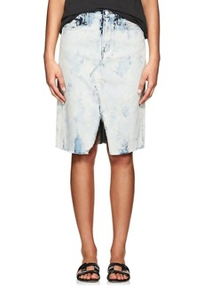 J Brand Women's Trystan Acid-Washed Denim Midi-Skirt