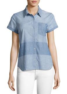 J Brand Wylie Two-Tone Denim Short-Sleeve Shirt