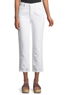 J Brand Wynne High-Rise Crop Straight-Leg Jeans