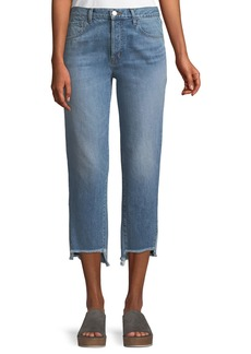 J Brand Wynne High-Rise Crop Straight-Leg Jeans with Step Hem