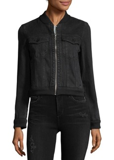 J Brand Zip Denim Bomber Jacket