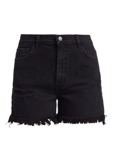 J Brand Jules High-Rise Frayed Hem Denim Shorts