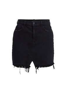 J Brand Jules High-Rise Frayed Hem Denim Mini Skirt