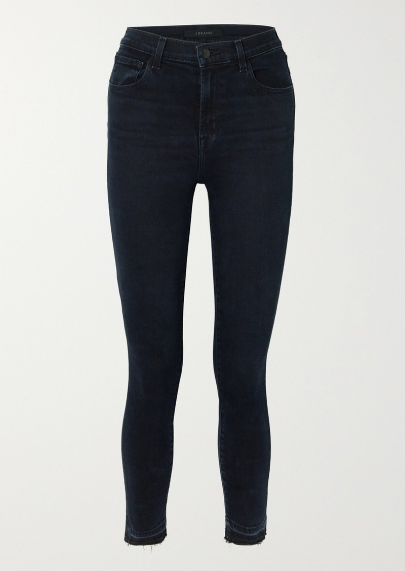 J Brand Leenah Cropped Frayed High-rise Skinny Jeans