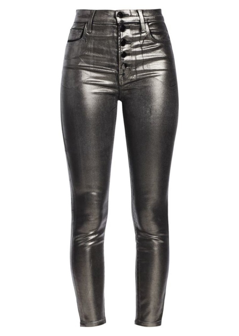 J Brand Lillie High-Rise Skinny Coated Metallic Jeans