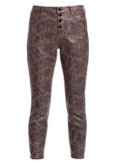 J Brand Lillie Snakeskin-Print Coated Cropped Pants