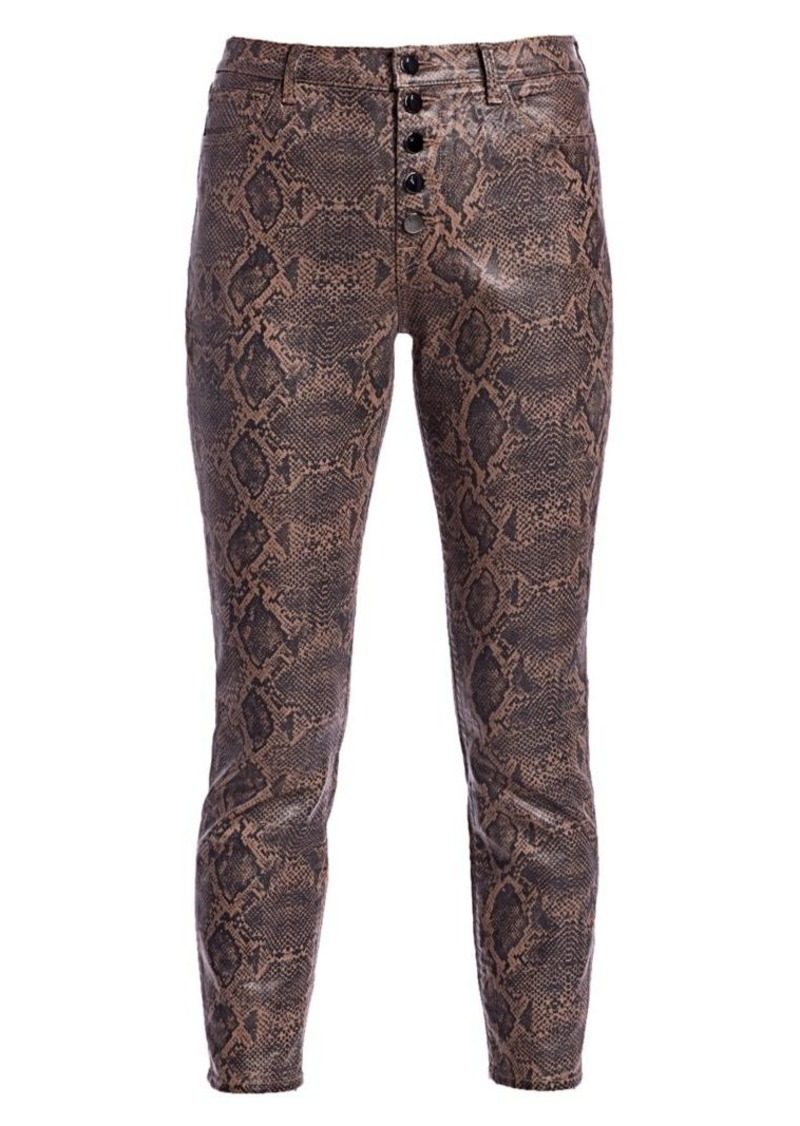 J Brand Lillie Snakeskin-Print Coated Cropped Pants