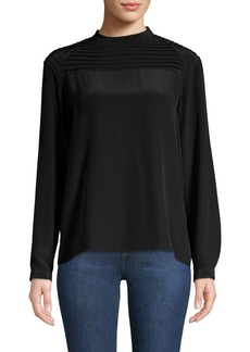 J Brand Lindsay Silk Pleated Blouse