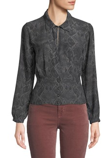 J Brand Lindsey Snake-Print Silk Long-Sleeve Top