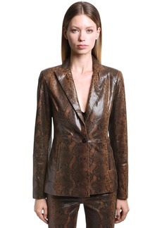 J Brand Londyn Snake Printed Leather Jacket