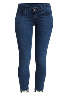 J Brand Low-Rise Cropped Skinny Distressed Jeans