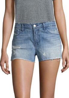 J Brand Low-Rise Medium Wash Released Hem Shorts
