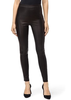J Brand Macey High-Rise Pull-On Lambskin Leather Leggings