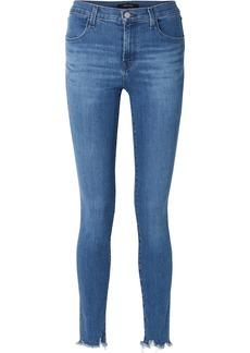 J Brand Maria Frayed High-rise Skinny Jeans