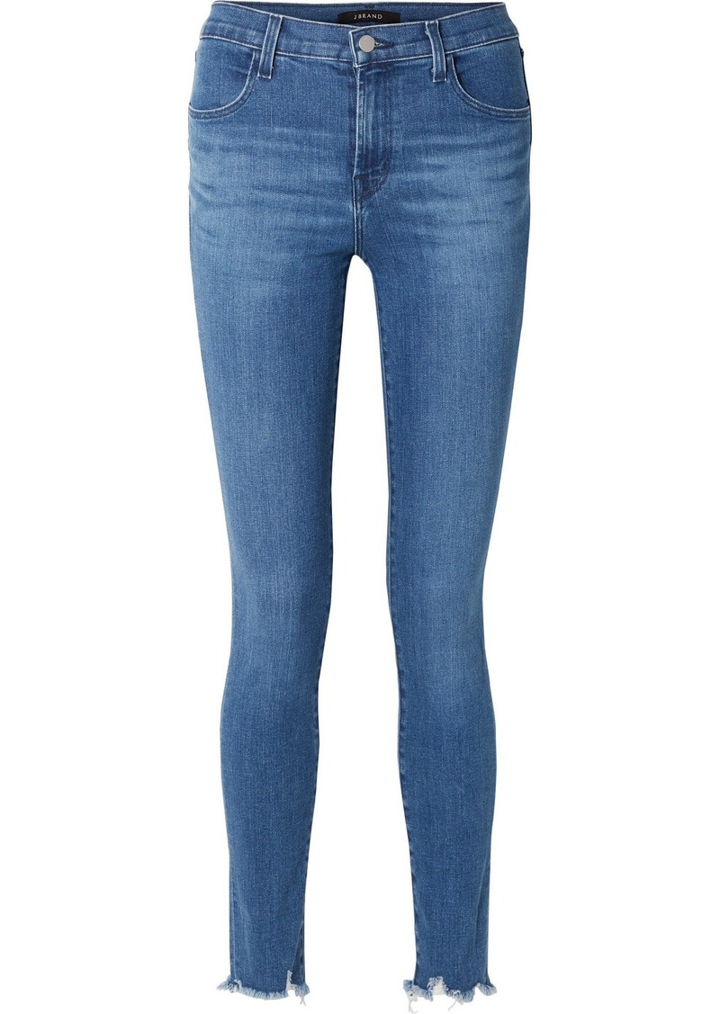J Brand Maria Frayed High-rise Skinny Jeans