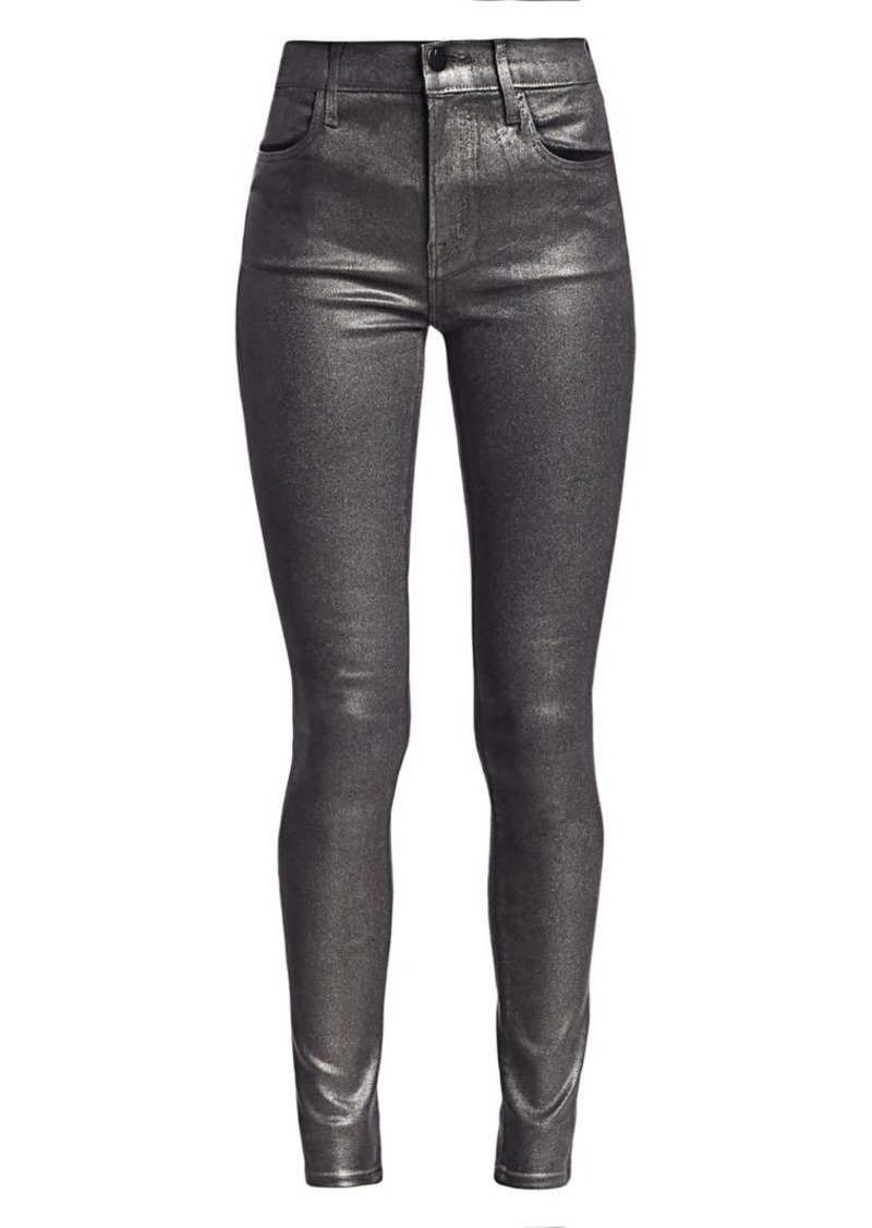 J Brand Maria High-Rise Metallic Coated Skinny Jeans