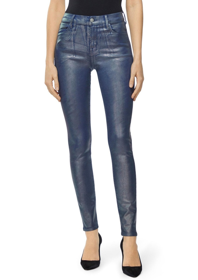 J Brand Maria Shimmer Coated High-Rise Skinny Jeans