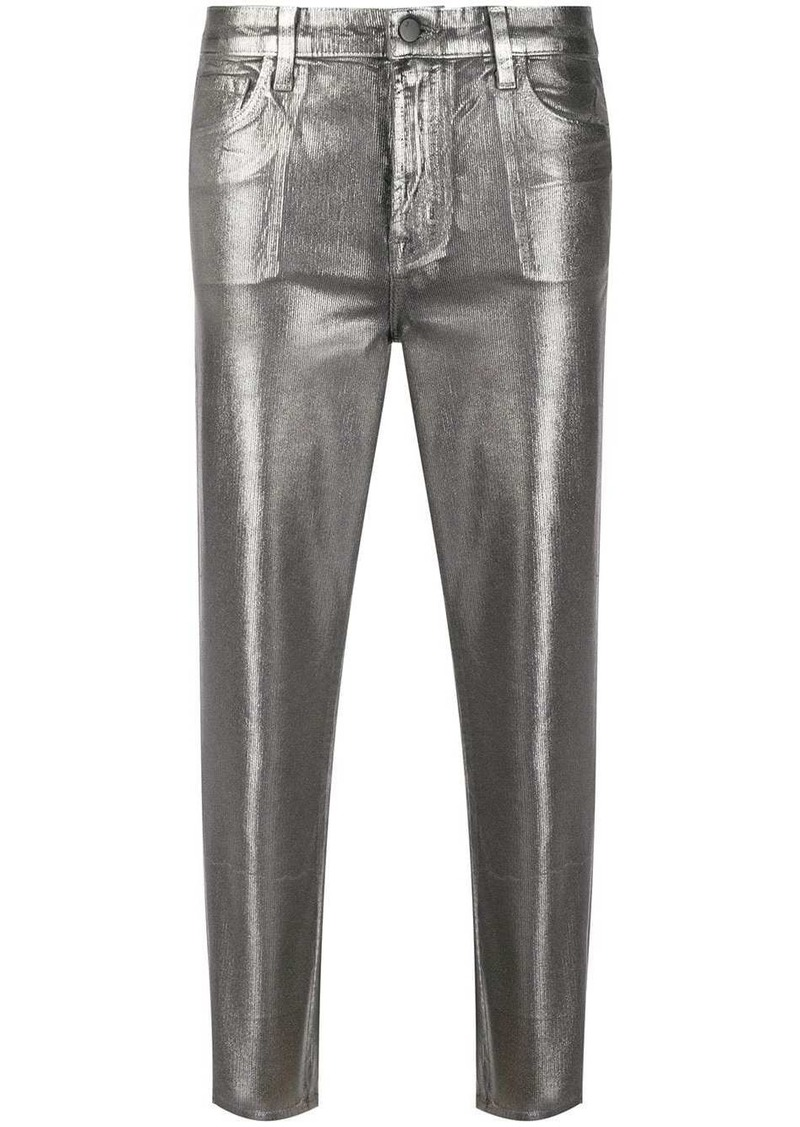 J Brand metallic-effect cropped trousers