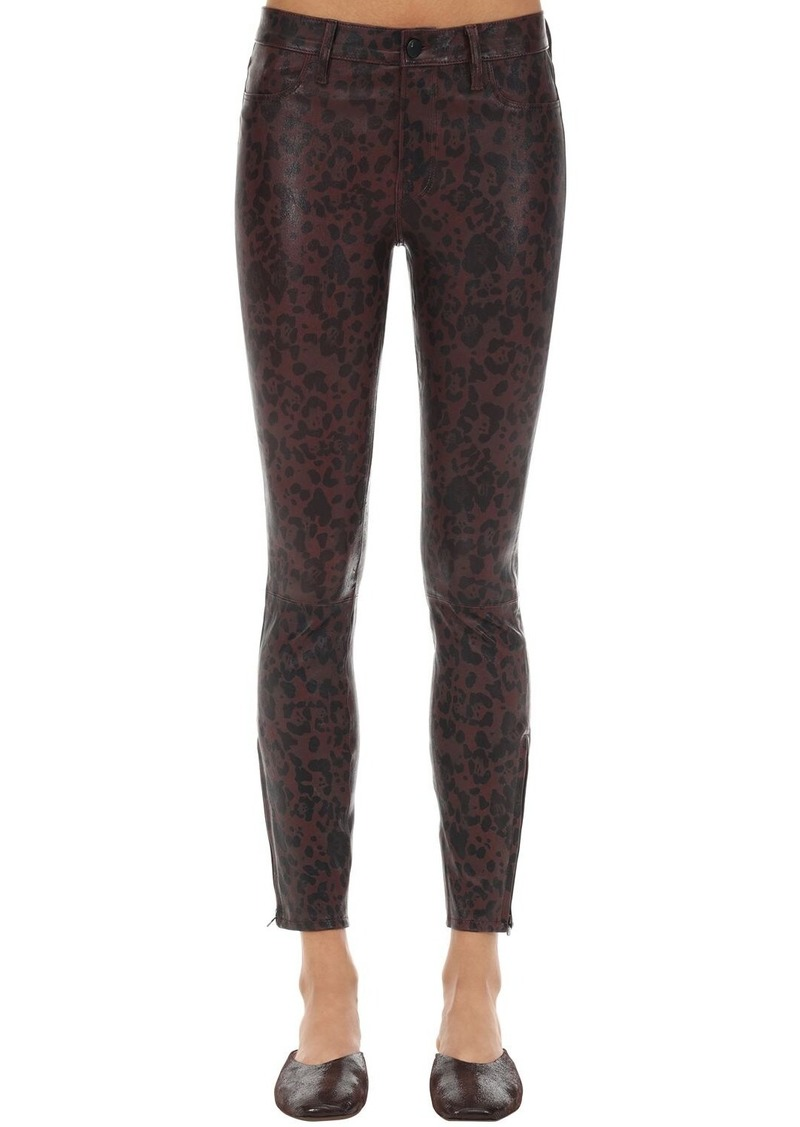J Brand Mid Rise Cheetah Print Leather Pants