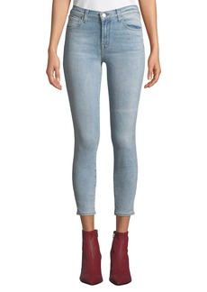 J Brand Mid-Rise Cropped Washed Skinny Jeans  Blue