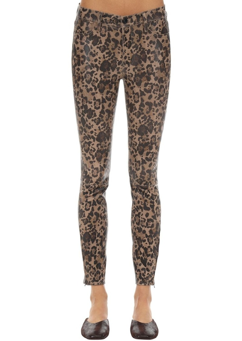 J Brand Mid Rise Leopard Print Leather Pants
