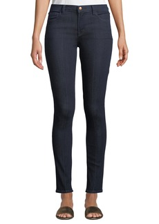 J Brand Mid-Rise Pintucked Skinny Jeans