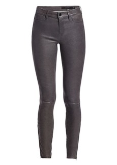 J Brand Mid-Rise Skinny Leather Pants