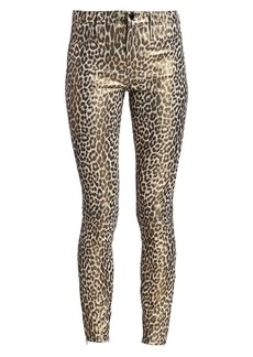 J Brand Mid-Rise Skinny Leopard-Print Leather Pants