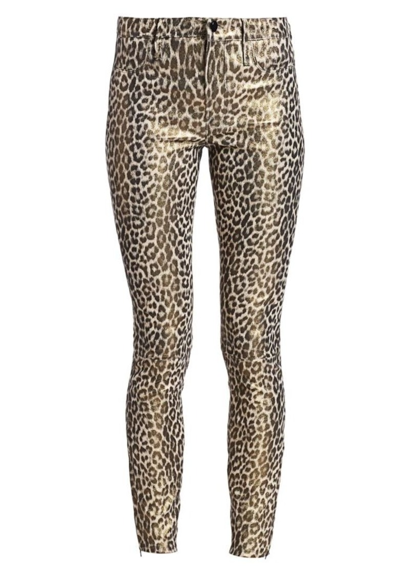 J Brand Mid-Rise Skinny Leopard-Print Leather Pants