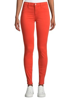 J Brand Mid-Rise Super Skinny Jeans  Coral