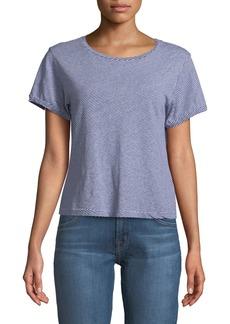 J Brand Nerd Short-Sleeve Crewneck Striped Linen-Cotton Jersey Tee