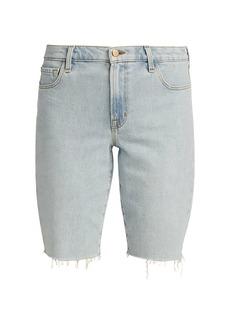 J Brand Relaxed Frayed Hem Denim Bermuda Shorts