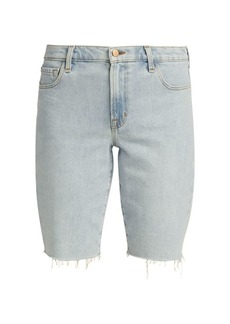 J Brand Relaxed Frayed Hem Denim Bermuda Shorts