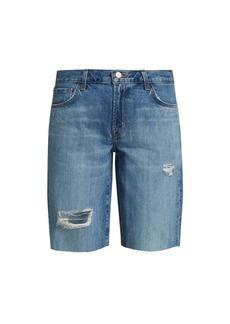 J Brand Relaxed Raw-Hem Distressed Denim Bermuda Shorts