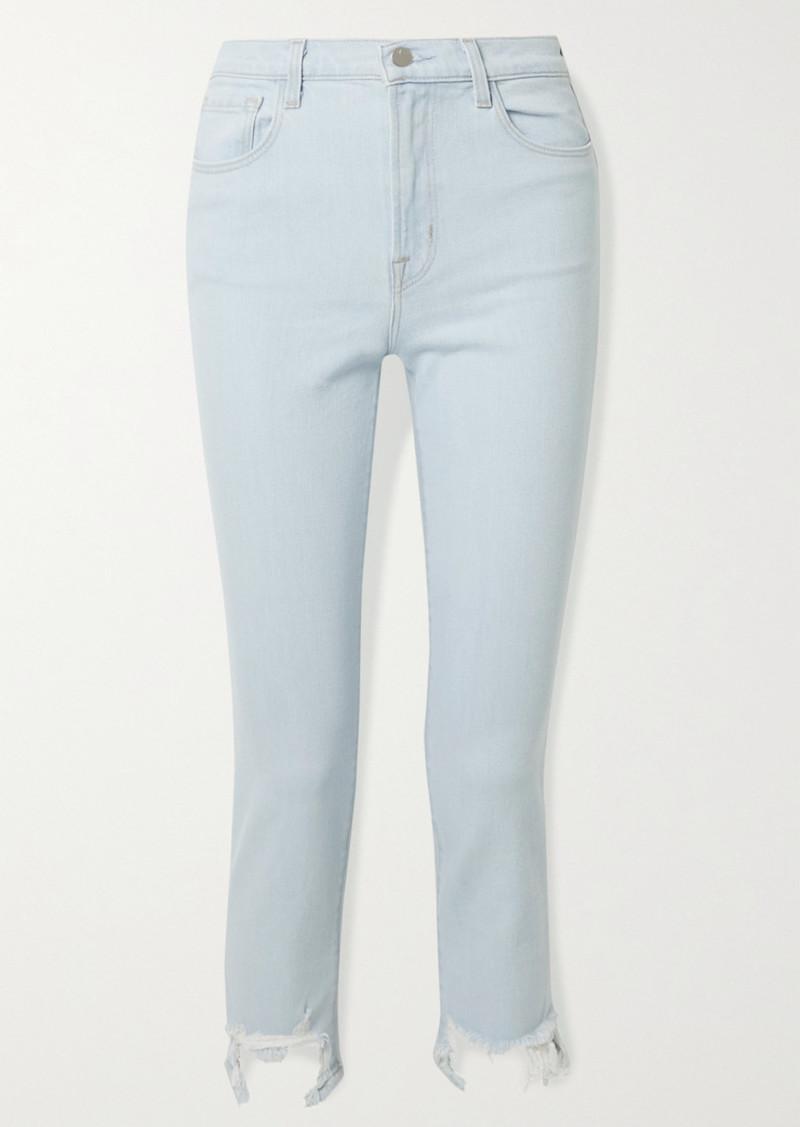 J Brand Ruby Cropped Distressed High-rise Slim-leg Jeans