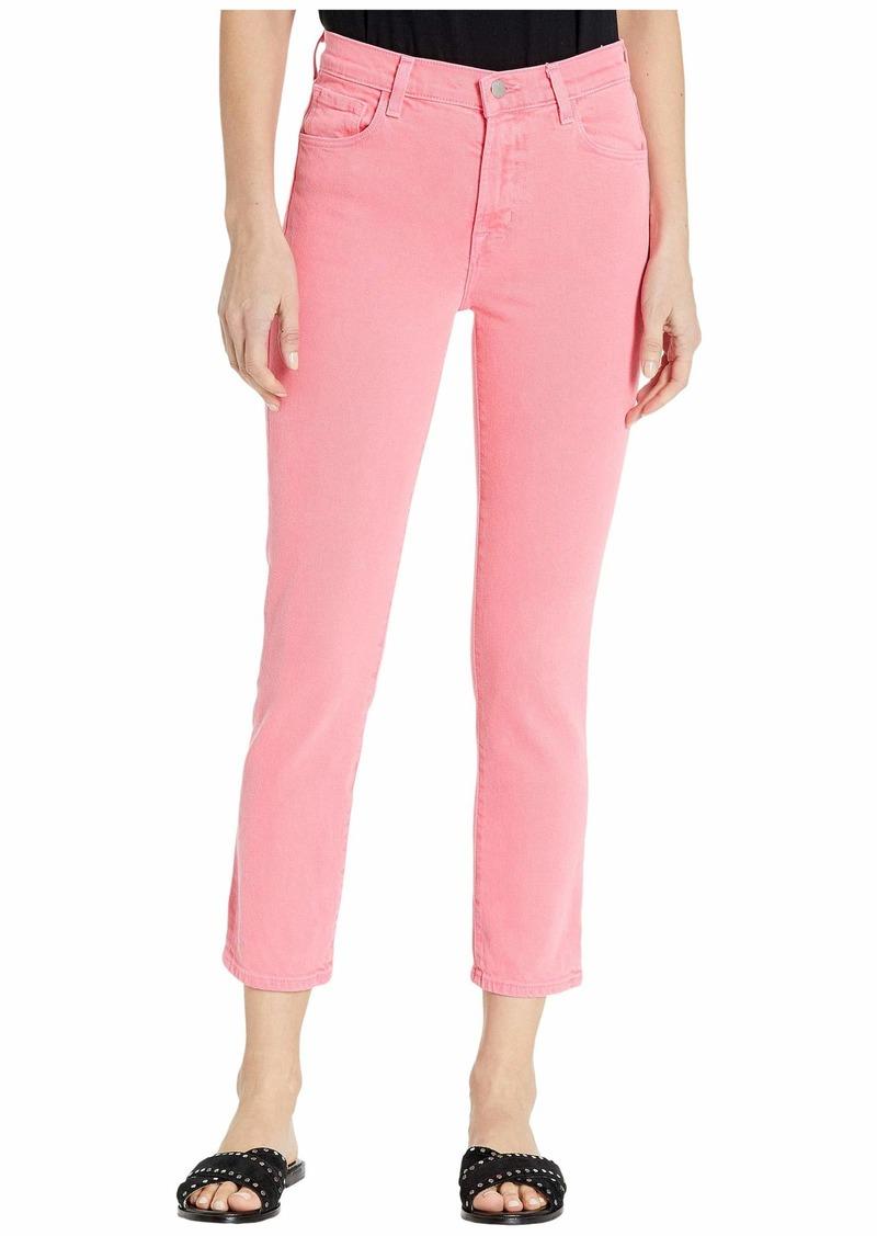 J Brand Ruby High-Rise Crop Skinny in Pink Coral