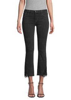J Brand Selena Mid-Rise Distressed-Hem Cropped Bootcut Jeans