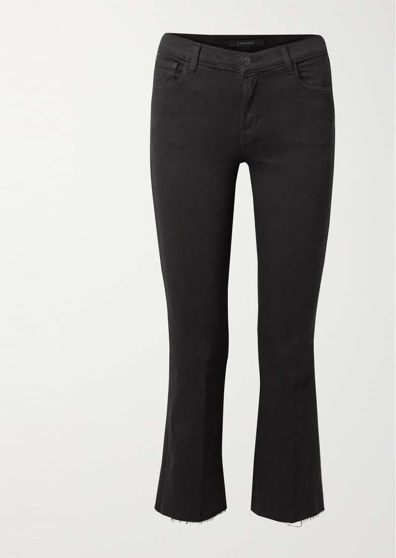 J Brand Selena Frayed Cropped Mid-rise Bootcut Jeans