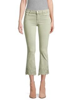 J Brand Selena Mid-Rise Crop Bootcut Floral Lace Hem Jeans