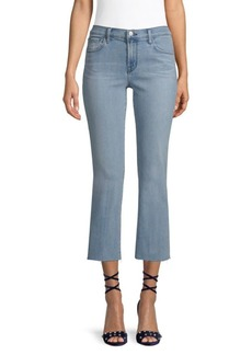 J Brand Selena Mid-Rise Raw-Hem Cropped Bootcut Jeans