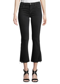 J Brand Selena Mid-Rise Cropped Lace Boot-Cut Jeans