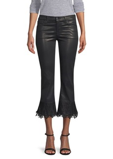 J Brand Selena Mid-Rise Lace-Hem Cropped Bootcut Jeans