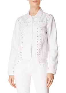 J Brand Slim Raw-Edge Studded Denim Jacket