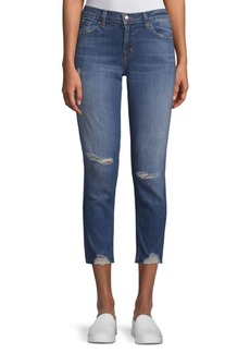 Stretch Distressed Cropped Jeans