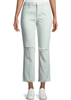 J Brand Wynne Cropped Straight-Leg Jeans with Ripped Knee  Spearmint