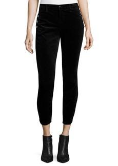 Zion Mid-Rise Velvet Skinny Ankle Jeans