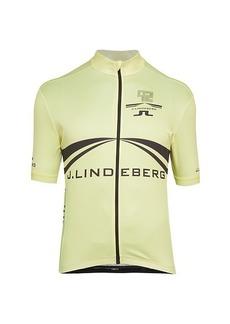 J. Lindeberg Branded Bike Jersey Zip-Up T-Shirt