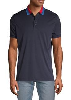 J. Lindeberg Contrast Collar Short-Sleeve Polo